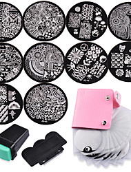 10 Nail Plates +1 Stamper + 1 Scraper + Storage Bag Nail Art Image Stamp Stamping Plates Manicure Template
