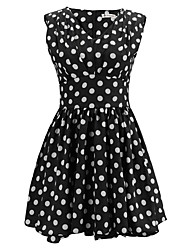 Women's Simple / Street chic Polka Dot A Line Dress,V Neck Back Zipper Polka Dots Print Randomly