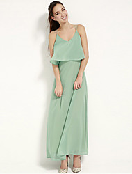 Maxi - Vestido - Poliéster - Cinto Não Incluso/Forrado