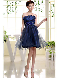 Cocktail Party Dress A-line Strapless Short / Mini Taffeta / Tulle with Beading / Side Draping