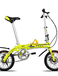 Dequilon K8 14 inch mini folding bike double disc brakes bicycle Ultraportability single speed yellow