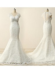 Trumpet / Mermaid Wedding Dress Court Train V-neck Lace with Appliques / Lace / Sash / Ribbon