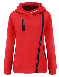 Damen Hoodies Lässig/Alltäglich Retro Solide Rot / Schwarz Polyester