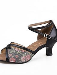Customizable Women's Dance Shoes Latin Leatherette / Sparkling Glitter Customized Heel Black / Silver / Gold