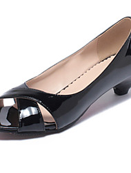 Women's Shoes Patent Leather Low Heel Heels / Peep Toe Heels Dress Black / Blue / Pink / White