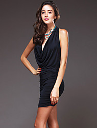 Women's Casual/Daily Street chic Sheath Dress,Solid Halter Mini Sleeveless Black Cotton Summer