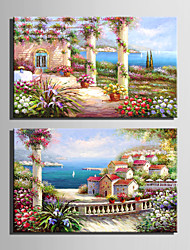 Mini Size E-HOME Oil painting Modern Garden House By The Sea Pure Hand Draw Frameless Decorative Painting