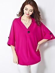 Women's Solid Pink / White / Black / Green Blouse,V Neck ½ Length Sleeve