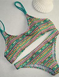 Women's Bandeau Bikinis,Floral Padded Bras Spandex Blue