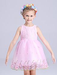 Menina de Vestido Poliéster Verão Rosa / Branco