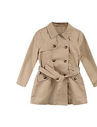 Girl's Beige Jacket & Coat,Bow Cotton Winter