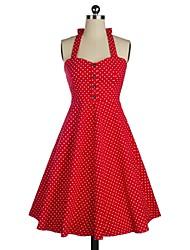 Klassische & Traditionelle Lolita Ärmellos Mittlerer Länge Rot Baumwolle Lolita Kleid