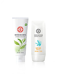 Dabao® Sunscreen Whitening Emulsion Waterproof Outdoor UV Protection SPF20 PA++75g 1Pc With Facial Cleansing100g 1Pc