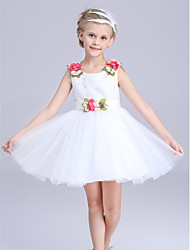 A-line Knee-length Embroidery Roses Belt Flower Girl Dress-Cotton / Satin / Tulle Sleeveless