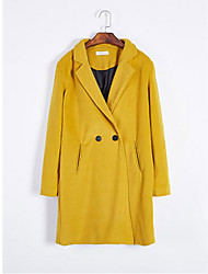 Women's Red / Black / Yellow Coat,Simple Long Sleeve Polyester