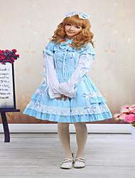 Une Pièce/Robes Gothique / Doux / Lolita Classique/Traditionnelle Steampunk® Cosplay Vêtements de Lolita Bleu Couleur PleineManches