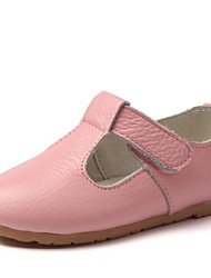Girls' Shoes Outdoor / Casual Comfort / Round Toe Leather Flats Black / Blue / Pink / Red / White