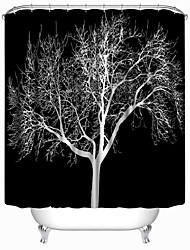 "Modern Black Tree Polyester Shower Curtains W71""×L71"""
