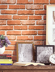 HaokHome®  Vintage Faux Stone Wallpaper Pumpkin/Off White 3D Brick Realistic Paper Rolls Room Decoration Wall Covering