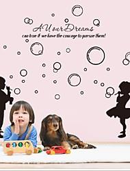 Happy Girl Boy Blowing Bubbles Wall Stickers Decals Waterproof Kids Vinyl Wallpaper Mural Child Shower