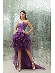 Cocktail Party Dress Ball Gown Sweetheart Asymmetrical Organza with Beading / Ruffles