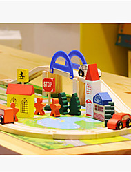 40PC Urban Rail Transit Bridge Traffic Scene Combination Wooden Toy Train Track in