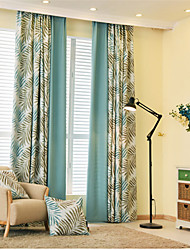 Two Panels  Joint Floral Blackout Printing Two color Curtain