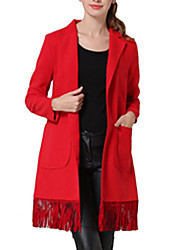 Women's Solid Red Coat,Simple Long Sleeve Polyester
