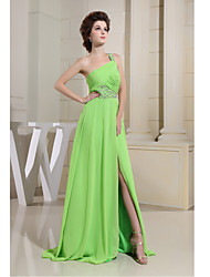 Formal Evening Dress-Lime Green Sheath/Column One Shoulder Floor-length Chiffon
