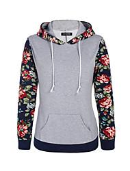 Damen Hoodies Arbeit Retro / Einfach Einfarbig Blau / Weiß / Schwarz Baumwolle / Acryl