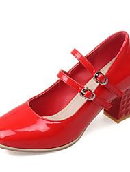 Damen / MädchenBüro / Kleid-Kunstleder-Blockabsatz-Absätze / Quadratische Zehe-Schwarz / Rot / Silber