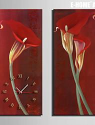 Rettangolare Moderno/Contemporaneo Orologio da parete,Altro Tela 24 x 70cm(9inchx28inch)x2pcs/ 30 x 90cm(12inchx35inch)x2pcs
