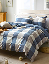 Blue plaid Duvet Cover+Fitted Sheet+Pillowcase 3pc/4pc Bedding Set