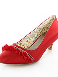 Women's Spring / Summer / Fall Heels / Round Toe Stretch Satin Wedding / Dress / Party & Evening Low Heel Crystal / Ribbon TieBlue /