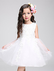 A-line Short / Mini Flower Girl Dress - Lace / Satin / Tulle Sleeveless Jewel with