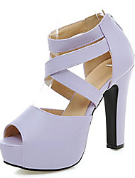 Women's Shoes Chunky Heel Platform/Open Toe Sandals Party & Evening/Dress Black/Pink/Purple/Beige