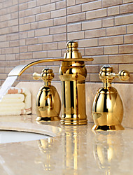 Contemporary Widespread Waterfall / Widespread with  Ceramic Valve Two Handles Three Holes for  Ti-PVD , Bathroom Sink Faucet