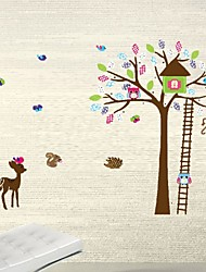 Diy Wall Stickers Home Decor Cartoon Animal Tree House Decals Owl Deer Wallstickers For Kids Room Deco