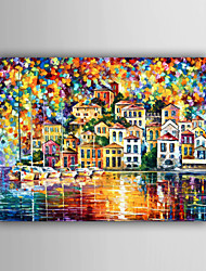 Peint à la main Paysage / Paysages AbstraitsModern / Style européen Un Panneau Toile Peinture à l'huile Hang-peint For Décoration