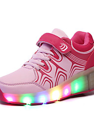 Ultra-light single wheel skating LED light shoes Pink / White / Black and Red / Royal Blue