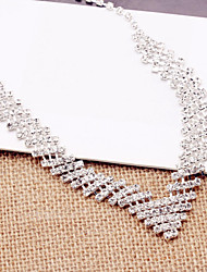 Necklace Earrings Set bride wedding dress accessories silver alloy