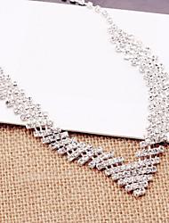 Necklace Earrings Set bride wedding dress accessories silver alloy