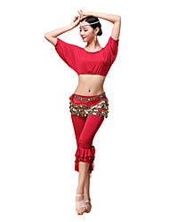 Belly Dance Outfits Women's Training Modal Gold Coins / Ruffles 3 Pieces Black / Fuchsia / Orange / Purple / Red Belly Dance Short Sleeve