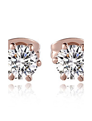 HKTC Concise Made with Austrian Crystal Stellux Jewelry Six Claws Simulated Diamond Stud EarringsImitation Diamond Birthstone