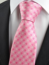 Pink White  Check Classic Men' Tie Necktie Wedding Party Holiday Gift KT0042