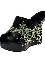 Women's Shoes Leather Wedge Heel Wedges / Peep Toe / Platform Sandals Outdoor / Dress / Casual Black / Silver
