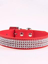 Dog Collar Adjustable/Retractable / Rhinestone Red / Black / Blue / Pink / Rose PU Leather