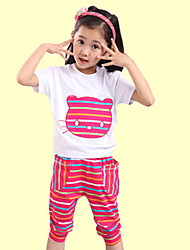 Girl's  Cotton Summer New Tide Korean Stripes Cat Short Sleeve Sport Clothes Set