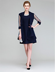 Lanting Bride® A-line Mother of the Bride Dress Short / Mini 3/4 Length Sleeve Chiffon with Crystal Detailing
