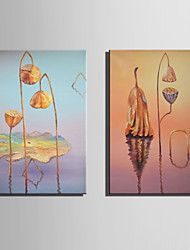 Mini Size E-HOME Oil painting Modern Remaining Lotus Pure Hand Draw Frameless Decorative Painting